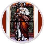 Saint Joseph  Stained Glass Window Round Beach Towel