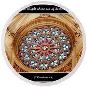 Saint Josephs Cathedral Stained Glass Window Buffalo New York Round Beach Towel