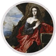 Saint Mary Magdalene In The Desert Round Beach Towel