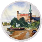 Saint Mary's Church Battersea London Round Beach Towel