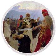 Saint Nicholas Of Myra Saves Three Innocents From Death Round Beach Towel