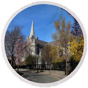 Saint Patricks Cathedral Founded Round Beach Towel