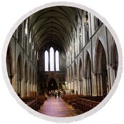 Saint Patrick's Cathedral Interior Dublin Round Beach Towel