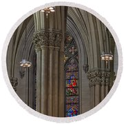 Saint Patrick's Cathedral Stained Glass Window Round Beach Towel