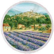 Saint Paul De Vence And Lavender Round Beach Towel