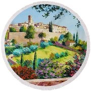 Saint Paul De Vence Round Beach Towel