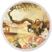 Sakura Round Beach Towel by Mo T