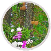 Sala Tree And Orchids At Buddhist University In Chiang Mai-thail Round Beach Towel