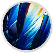 Salicylic Acid Crystals In Polarized Light Round Beach Towel