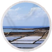 Salinas De Janubio On Lanzarote Round Beach Towel