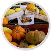 San Joaquin Valley Squash Display Round Beach Towel