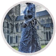 Salisbury Cathedral And The Walking Madonna 2 Round Beach Towel