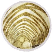 Salisbury Cathedral Cloisters 2 Round Beach Towel