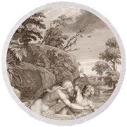 Salmacis And Hemaphroditus United In One Body Round Beach Towel