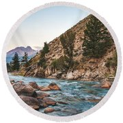 Salmon River In The Twilight Round Beach Towel