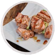 Salmon Teriyaki Skewers Round Beach Towel