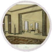 Salon, From Repertoire Of Modern Taste Round Beach Towel by Jacques-Emile Ruhlmann