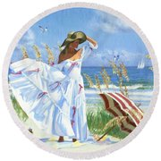 Salt Aire Blues Round Beach Towel