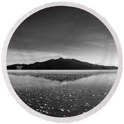 Salt Cloud Reflection Black And White Round Beach Towel