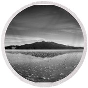 Salt Cloud Reflection Black And White Select Focus Round Beach Towel