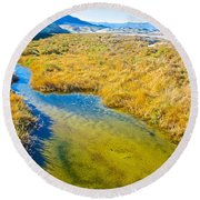 Salt Creek Near Salt Creek Trail In Death Valley National Park-california Round Beach Towel