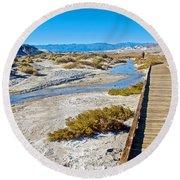 Salt Creek Trail Boardwalk In Death Valley National Park-california  Round Beach Towel