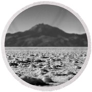 Salt Flat Surface Black And White Round Beach Towel