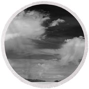 Salt Flats Clouds Round Beach Towel