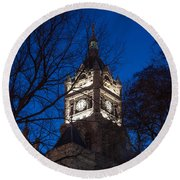 Salt Lake City And County Building At Night Round Beach Towel