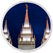 Salt Lake Lds Mormon Temple At Night Round Beach Towel