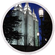 Salt Lake Mormon Temple At Night Round Beach Towel