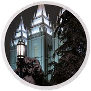 Salt Lake Temple In The Snow Round Beach Towel