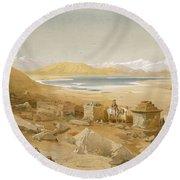 Salt Lake - Thibet, From India Ancient Round Beach Towel