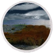 Salt Marsh At The Edge Of The Sea Round Beach Towel by RC DeWinter