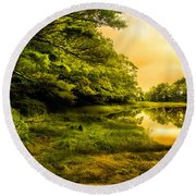 Salt Marsh Kittery Maine Round Beach Towel