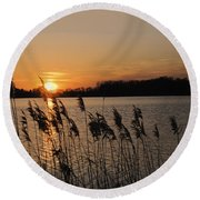 Salt Marsh Sunset Round Beach Towel