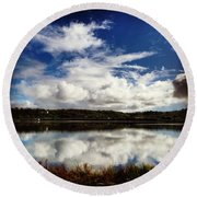 Salt Pond Mirror  Round Beach Towel