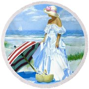 Salt Water Blues Round Beach Towel
