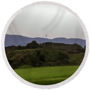 Saltire And The Ruins Of The Urquhart Castle In Scotland At A He Round Beach Towel