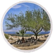 Salton Sea Oasis Round Beach Towel