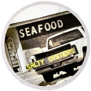 Salty Oysters - Textured Round Beach Towel
