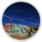 Salvation Mountain Round Beach Towel by Laurie Search