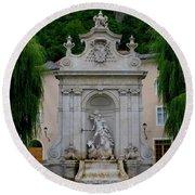 Salzburg Castle With Fountain Round Beach Towel