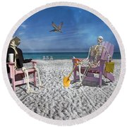 Sam And His Friend Visit Long Boat Key Round Beach Towel