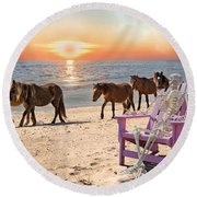 Sam Watches Over The Harem  Round Beach Towel by Betsy Knapp