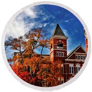 Samford Hall In The Fall Round Beach Towel by Victoria Lawrence