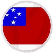 Samoa Flag Round Beach Towel