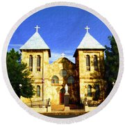 San Albino Church Round Beach Towel