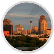 San Antonio - Skyline At Sunset Round Beach Towel