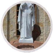 San Antonio Statue Round Beach Towel